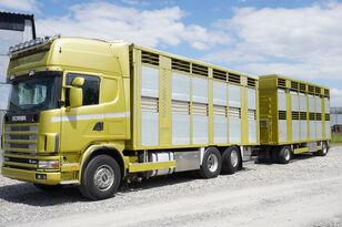 loomaveok veoauto SCANIA R164 V8 , 6x2 , 2 hydraulic decks , 70m2 , live stock + loomaveohaagis